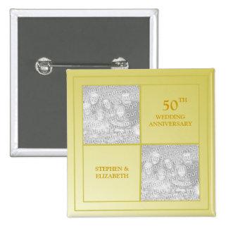 Aniversario de oro de la foto última y actual pin cuadrada 5 cm