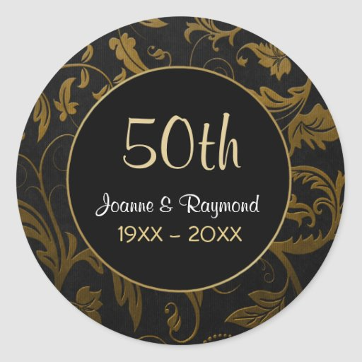 Aniversario de oro del damasco 50.o - personalizar pegatina redonda