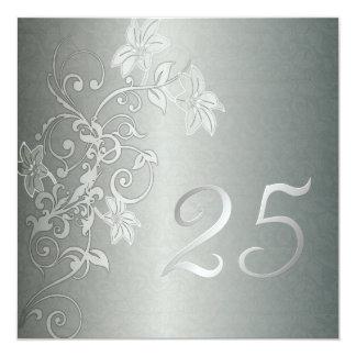"""Aniversario de plata 25 años de instinto del invitación 5.25"""" x 5.25"""""""