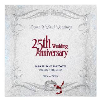 """Aniversario de plata invitación 5.25"""" x 5.25"""""""