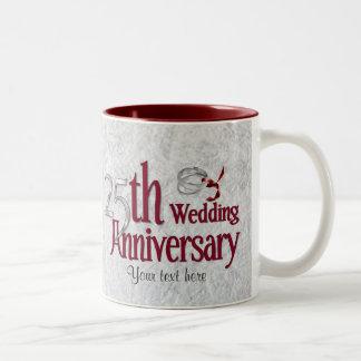 Aniversario de plata taza de dos tonos