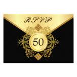 Aniversario del cumpleaños del negro formal del or invitación