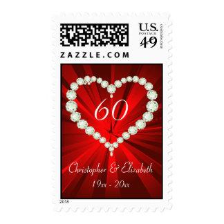 Aniversario del diamante 60.o del corazón del amor franqueo