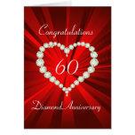Aniversario del diamante 60.o del corazón del amor felicitacion