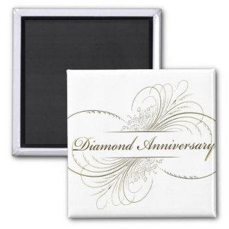 Aniversario del diamante imán cuadrado