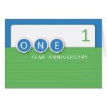 Aniversario del empleado 1 año, círculos tarjeta