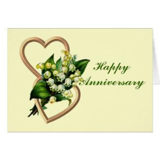 Aniversario del lirio de los valles tarjeta de felicitación