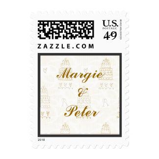 Aniversario del oro de los pasteles de bodas o sello postal