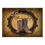 aniversario del país 50.o de las botas de vaquero invitación 11,4 x 15,8 cm