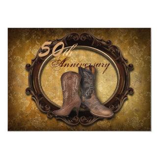 """aniversario del país 50.o de las botas de vaquero invitación 4.5"""" x 6.25"""""""