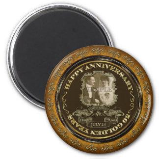 Aniversario del vintage 50.o imán redondo 5 cm