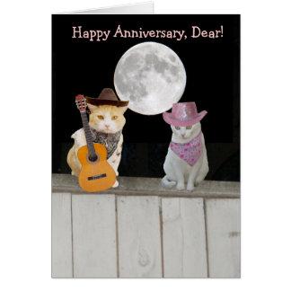 Aniversario divertido adaptable de los gatos tarjeta de felicitación