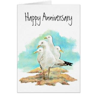 Aniversario divertido, del grupo de gaviotas, pája tarjeta de felicitación