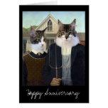 Aniversario divertido gótico americano del gato tarjetón