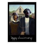 Aniversario divertido gótico americano del perro tarjeta de felicitación