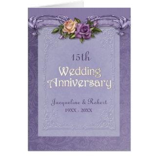 Aniversario doblado de la púrpura de los rosas de tarjeta de felicitación