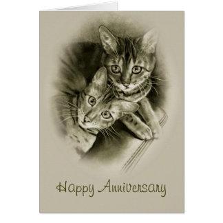 Aniversario: Dos gatos de Bengala, ARTE original d Tarjeta De Felicitación