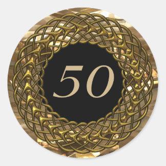 Aniversario elegante del oro y de boda del negro pegatinas redondas