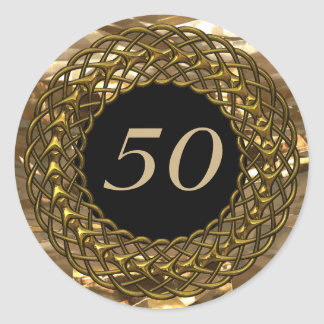 Aniversario elegante del oro y de boda del negro pegatina redonda