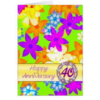 Aniversario fabuloso de las flores 40.as para el tarjeta de felicitación