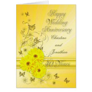Aniversario fabuloso de las flores 40.as para un tarjeta de felicitación