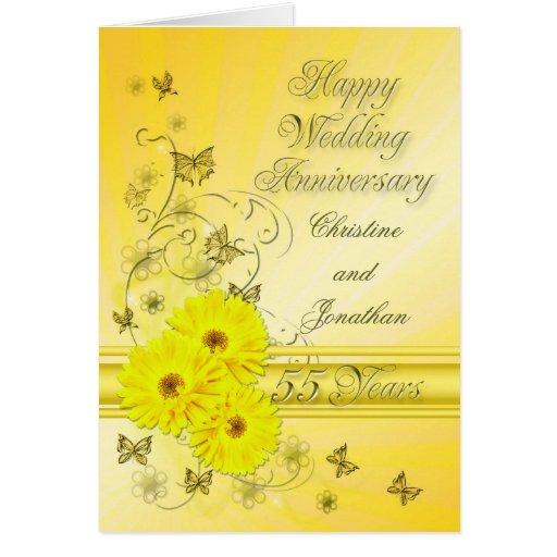 Aniversario fabuloso de las flores 55.as para un tarjeta de felicitación