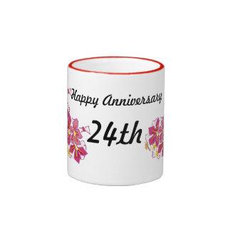 Aniversario feliz 24to taza de dos colores