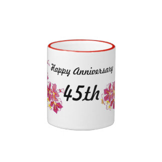 Aniversario feliz 45.o taza de dos colores
