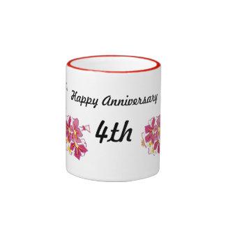 Aniversario feliz 4to taza de dos colores