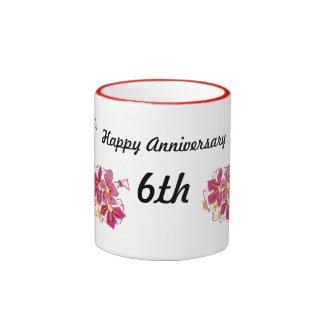 Aniversario feliz 6to taza de dos colores