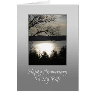 Aniversario feliz a mi esposa - lago sunset tarjeta de felicitación