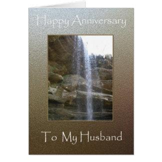 Aniversario feliz a mi marido - cascada tarjeta de felicitación