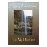 Aniversario feliz a mi marido - cascada tarjetón