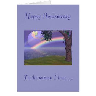 Aniversario feliz, al amor de la mujer I Tarjeta De Felicitación