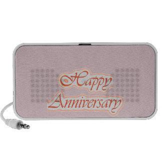 Aniversario FELIZ Color de fondo elegante del tex Laptop Altavoz
