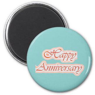 Aniversario FELIZ: Color de fondo elegante del tex Imán De Frigorifico