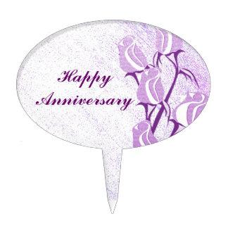 Aniversario feliz color de rosa púrpura figuras de tarta