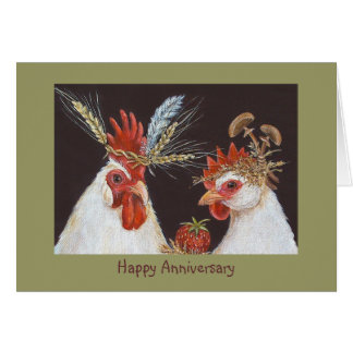 Aniversario feliz con el gallo y la gallina tarjeta de felicitación