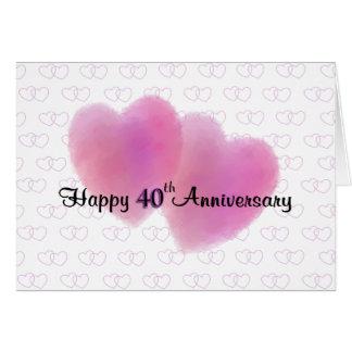 Aniversario feliz de 2 corazones 40.o tarjeta de felicitación