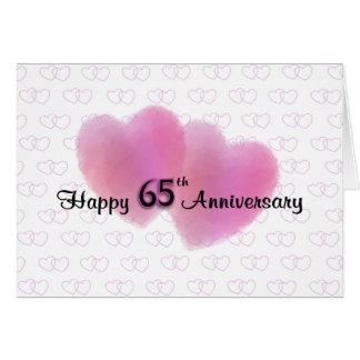 Aniversario feliz de 2 corazones 65.o tarjeton