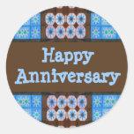 Aniversario feliz de Brown de la turquesa Etiqueta Redonda