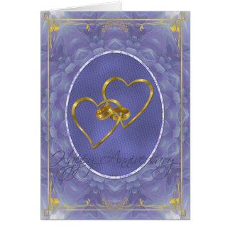 Aniversario feliz de la dalia azul tarjeta de felicitación