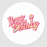 Aniversario feliz del feliz cumpleaños pegatina redonda