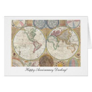Aniversario feliz del mapa de Viejo Mundo a partir Tarjeta De Felicitación
