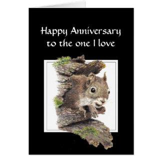 Aniversario feliz divertido, una ardilla del amor  tarjeta de felicitación