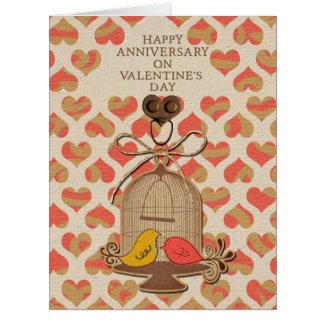 Aniversario feliz en Lovebirds del el día de San V Tarjeta De Felicitación Grande