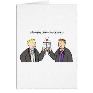 Aniversario feliz enrrollado para dos varones gay tarjeta de felicitación
