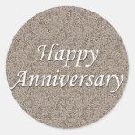 Aniversario feliz etiqueta redonda