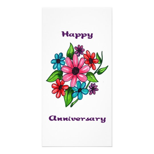 Aniversario feliz floral tarjeta fotografica