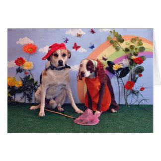 Aniversario feliz, foto de 2 perros y mariposas tarjeta de felicitación
